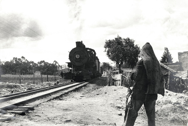 Helen Levitt, 'Mexico City (hooded figure, approaching train)', 1942, Laurence Miller Gallery