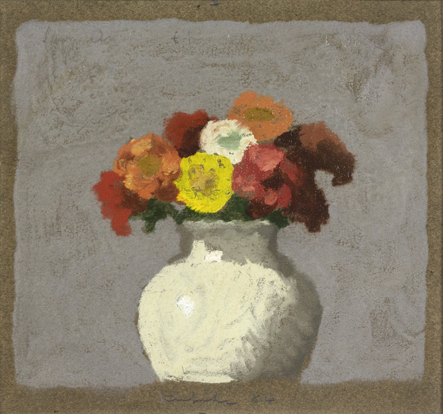 , 'Zinnias in a Sung Vase,' 1986, Davis & Langdale Company, Inc.