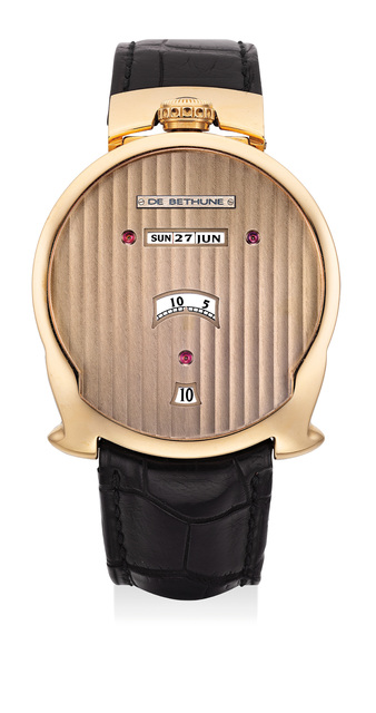 De Bethune, 'A very fine and extremely unusual pink gold asymmetrical wristwatch with jump hours, digital minutes, linear triple calendar and moon phases', Circa 2010, Phillips