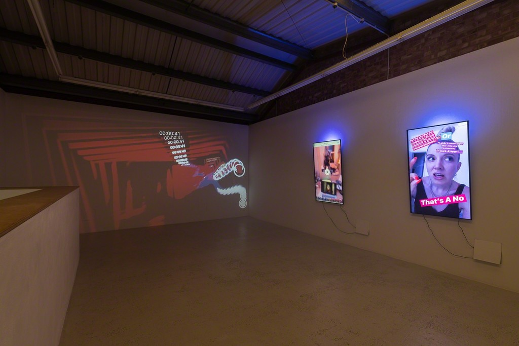 """Installation view of Signe Pierce """"Digital Streams of an Uploadable Consciousness : Stories 2016-2019"""" at Annka Kultys Gallery, London 2019. Photo: Annka Kultys Gallery (Damian Griffiths)"""