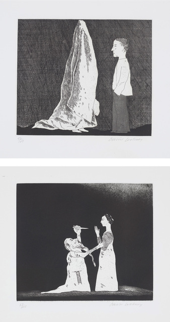 David Hockney, 'The Sexton Disguised as a Ghost; and Old Rinkrank Threatens the Princess, plates 20 and 30 from Illustrations for Six Fairy Tales from the Brothers Grimm', 1969, Phillips