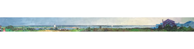", '""Edgartown Panorama"" panoramic oil painting of Edgartown Harbor on Martha's Vineyard,' 2018, Eisenhauer Gallery"
