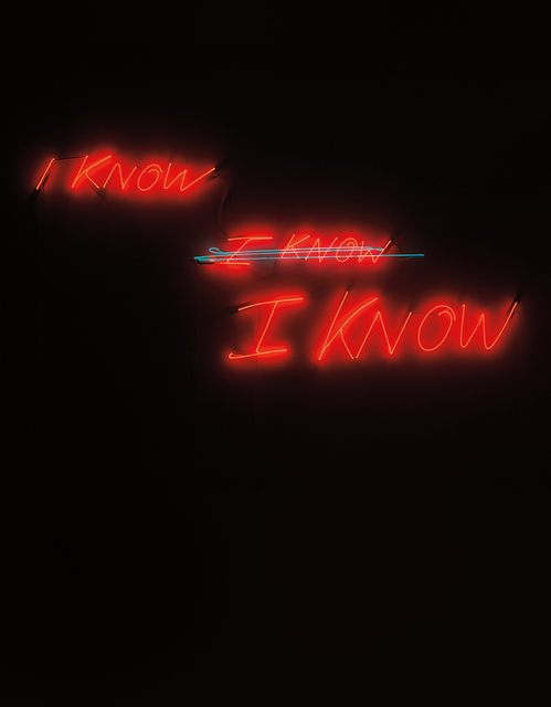 Tracey Emin, 'I know, I know, I know', 2002, Installation, Blue and red neon, Phillips