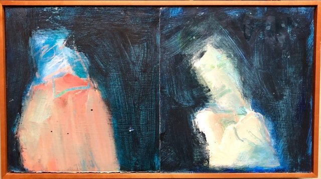 """Marianne Kolb, '""""Two for Francis"""" Mixed Media Figural Abstract Oil Painting', 2000-2009, Lions Gallery"""