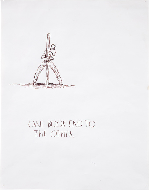 Raymond Pettibon, 'Untitled (One book end to the other - man to pole)', 1991, Phillips