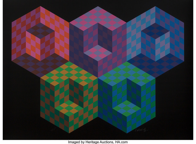 Victor Vasarely, 'Hexa 5, from Official Arts Portfolio of the XXIVth Olympiad, Seoul, Korea', 1988, Heritage Auctions