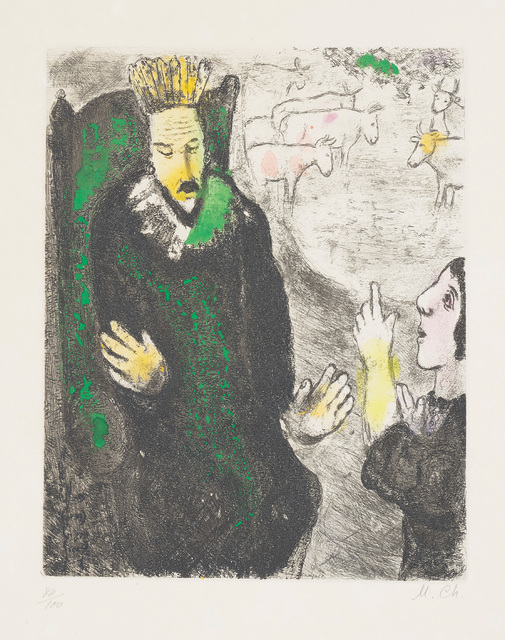 Marc Chagall, 'Le songe de Pharaon (The Pharaoh's Dream), plate 21 from La Bible', 1931-39, Print, Etching and aquatint with hand-colouring in watercolour, on Arches paper, with full margins., Phillips
