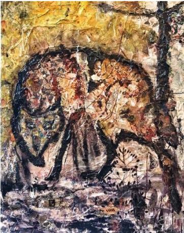 SylT, 'Werewolf', 2021, Painting, Mixed media on board, Thompson Landry Gallery