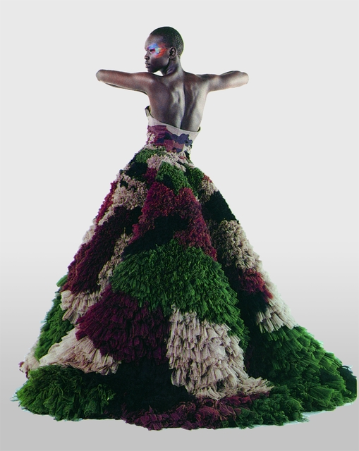 ", 'Untitled (Alek Wek) Numéro, March 2000 (""Dubar"" gown from Jean Paul Gaultier's ""Romantic India"" women's spring-summer haute couture collection of 2000) Photograph by Karl Lagerfeld,' 2000, Brooklyn Museum"
