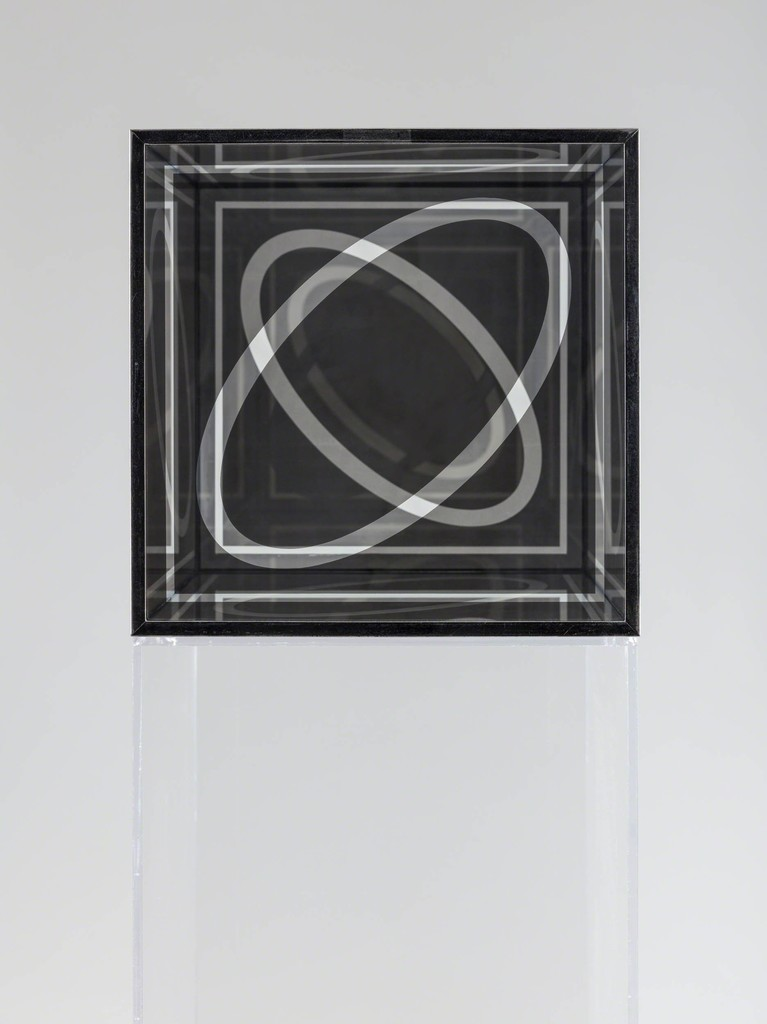"""Larry Bell, Untitled (Cube 12""""), 1964. Nickel plated glass and chrome plated brass. Courtesy Hall Collection. Photo: Silvia Ros."""