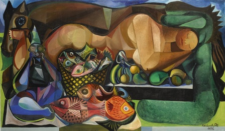 Reclining Nude with Fish and Fruit