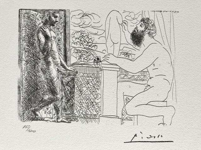 Pablo Picasso, 'Sculpteur et son modèle devant une fenêtre (Suite Vollard Planche LVIX)', 1973, ByNewArt