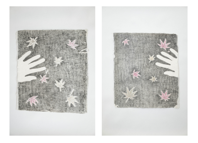Jean-Luc Vilmouth, 'Sans titre (Nature and Me)', 2015, Drawing, Collage or other Work on Paper, Two drawings: incrustations and graphite on rice paper, Jousse Entreprise