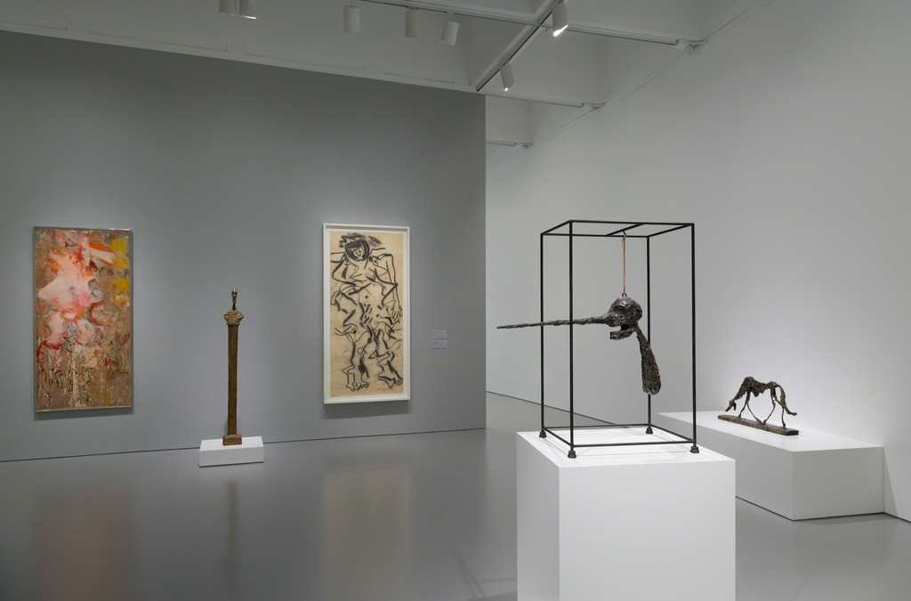 Installation view of Masterworks from the Hirshhorn Collection at the Hirshhorn Museum and Sculpture Garden, 2016. Left to right: Willem de Kooning, Woman, 1964; Alberto Giacometti, Bust of Diego on a Stele II, 1958; Willem de Kooning, Woman, 1964; Alberto Giacometti, The Nose, 1947, revised 1949, cast c. 1960–65; Alberto Giacometti, Dog, 1951, cast 1957. 