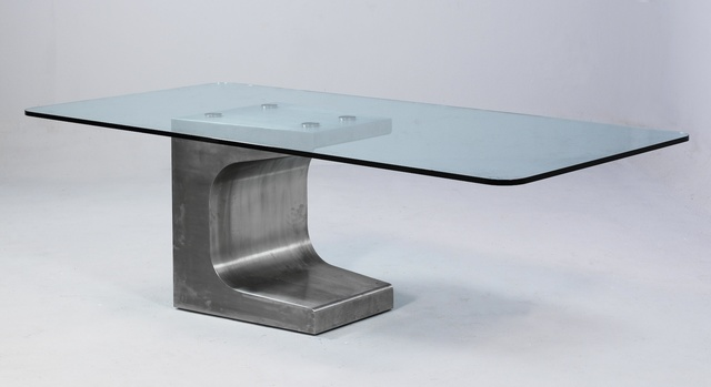 , 'Large stainless steel table with beveled, thick-walled glass,' 1984, R & Company