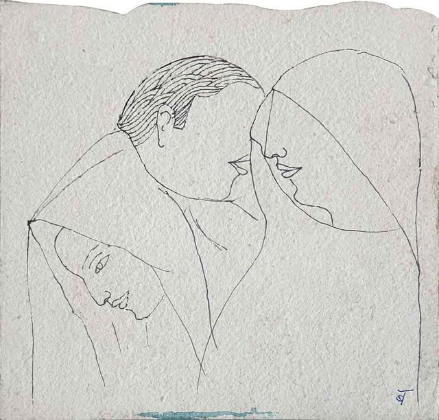 ", 'Untitled, Ink on Paper by Padmashree Modern Artist ""In Stock"",' ca. Circa, Gallery Kolkata"