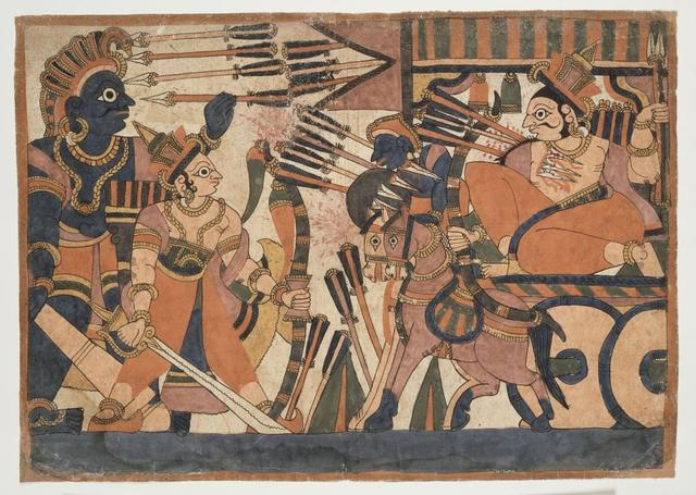 , 'Mahabharata, battle scene,' c. 1850, Musée national des arts asiatiques - Guimet