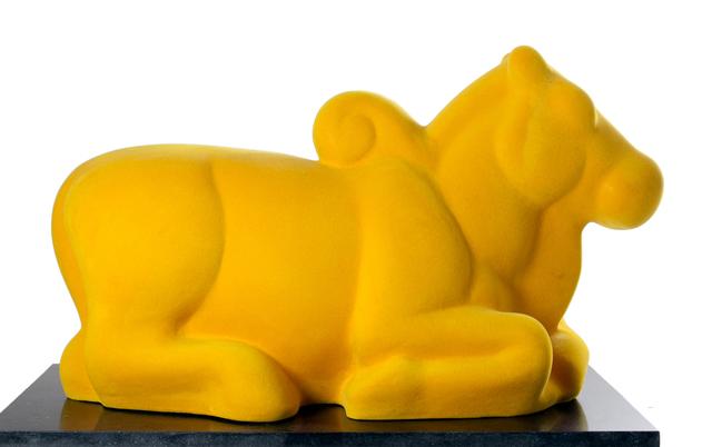 Arunkumar H. G., 'Nandi in yellow', 2008, Sculpture, Velvet on fiberglass, Museum of Art & Photography