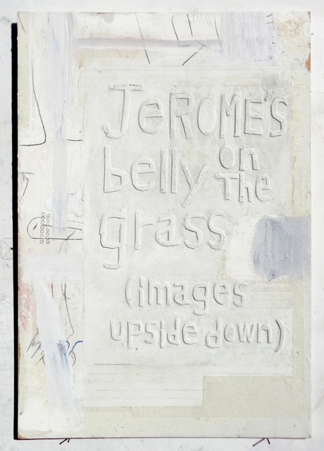 Moe Yoshida Veggetti, 'Jerome's belly on the grass(images upside down)', 2018, Drawing, Collage or other Work on Paper, Pencil, acrylic, papier maché on wood, GALLERY TAGA 2