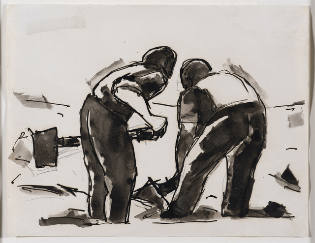 Josef Herman RA, 'Two men with shovels', 1956, Drawing, Collage or other Work on Paper, Pen, ink and wash on paper, Connaught Brown