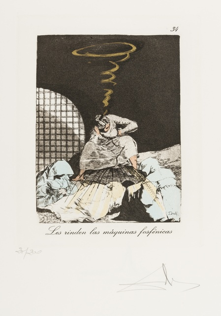 Salvador Dalí, 'Plate 34 (From Les Caprices de Goya de Dali) (M & L 881; Field 77-3-48)', 1977, Print, Drypoint on heliogravure with stencil, Forum Auctions