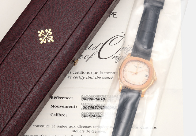 Patek Philippe, 'A fine and attractive pink gold wristwatch with date, sweep center seconds, certificate of origin and presentation box, single sealed', 2005, Phillips