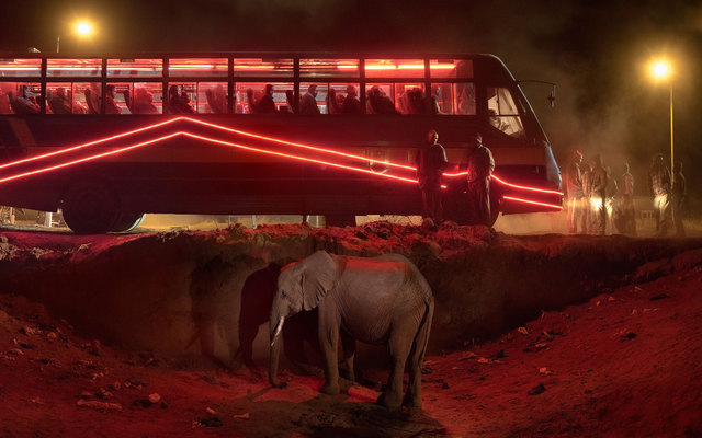 , 'Bus Station with Elephant & Red Bus,' 2018, Edwynn Houk Gallery