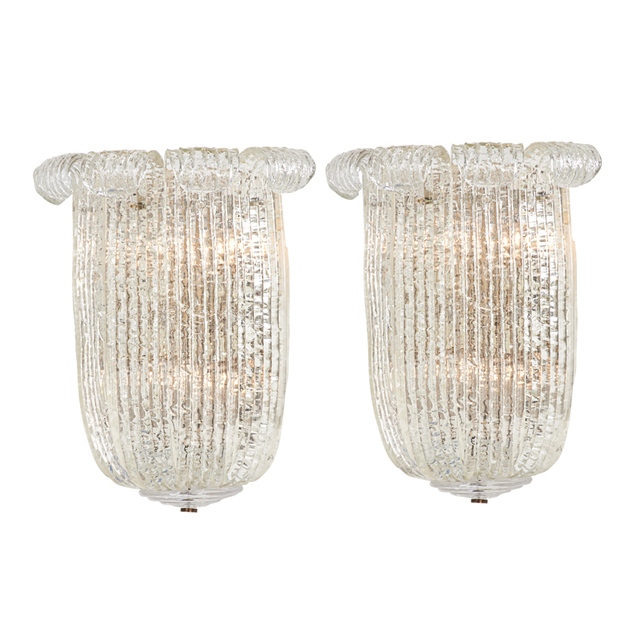 Barovier & Toso, 'Pair Of Large Sconces, Murano, Italy', 1940s, Rago/Wright