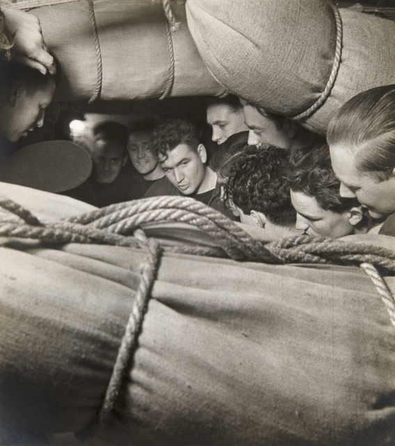 , 'Sailors Among Hammocks on the Mess Deck, HMS Alcantara, En Route to Sierra Leone,' 1941, Beetles + Huxley
