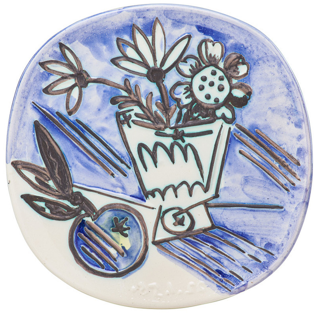 """Pablo Picasso, 'Plate, """"Bunch with Apple (Bouquet avec Pomme),"""" edition of 400, France', des. 1956, Rago/Wright"""