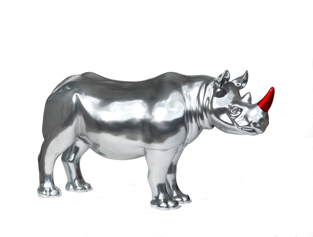 Gerry McGovern, 'Moreton', 2018, Sculpture, Rhino: fibreglass rhino (fire retardant) with internal armature Finish: Main body is painted in Mercury Chrome silver ground coat and the horn in Vermilion Red. Finished in gloss top coat., Tusk Benefit Auction