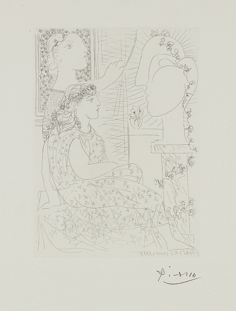 Pablo Picasso, 'Deux modèles vêtus (Two Dressed Models), plate 42 from La suite Vollard', 1933, Print, Etching, on Montval paper, with full margins, Phillips