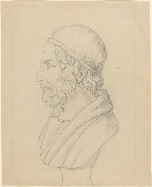 John Flaxman, 'Classical Portrait Bust of a Bearded Man', Drawing, Collage or other Work on Paper, Graphite on laid paper, National Gallery of Art, Washington, D.C.