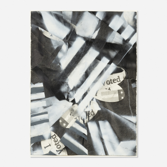 Karl Haendel, 'I Voted (2008) with spray #1', 2008, Drawing, Collage or other Work on Paper, Charcoal, graphite and spray paint on paper, Rago/Wright