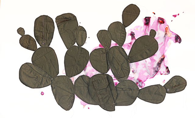 Margarita Cabrera, 'El Flujo de Extracciones (Nopal 1)', 2019, Drawing, Collage or other Work on Paper, Mixed-media - Cochineal Gouache on paper with fabric collage and string, Ruiz-Healy Art