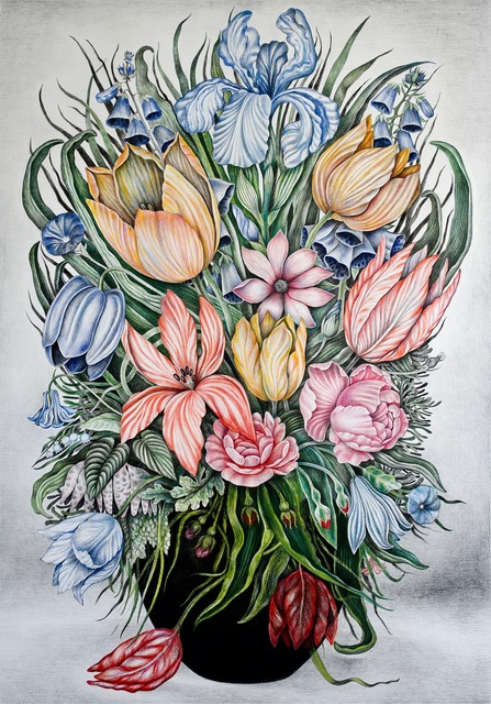 Henna Pohjola, 'Flower Quotes', 2019, Drawing, Collage or other Work on Paper, Coloured pencil on paper, Galleria Heino