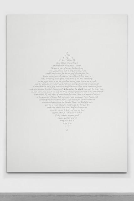 Jorge Méndez Blake, 'Carta a Milena (Berlin, 25 de diciembre de 1923) II / Letter to Milena (Berlin, December 25th, 1923) II', 2019, Galería OMR