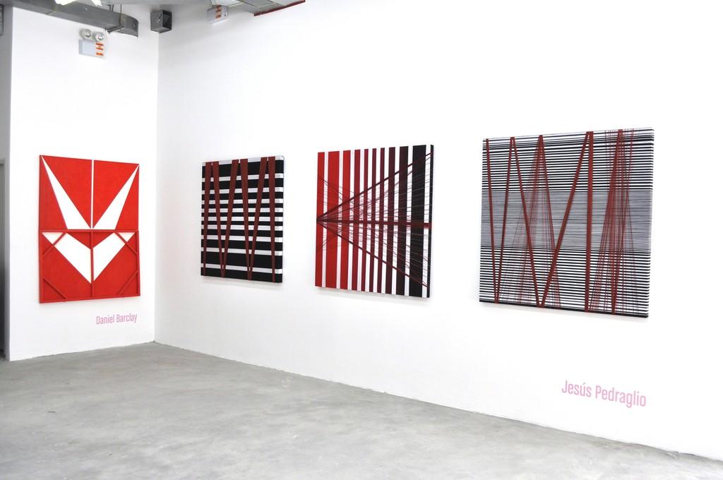 Installation view. Daniel Barclay's 'Espacio Negativo' and Jesus Pedraglio's 'Todo Relativo', 'Somos Peru' and 'Todo El Tiempo'.