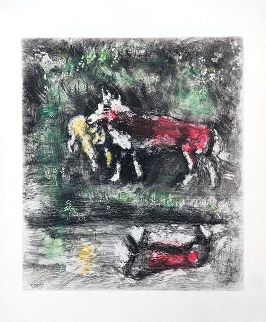 Marc Chagall, 'The Wolf and the Lamb', 1952, Print, Etching with hand colouring, Goldmark Gallery
