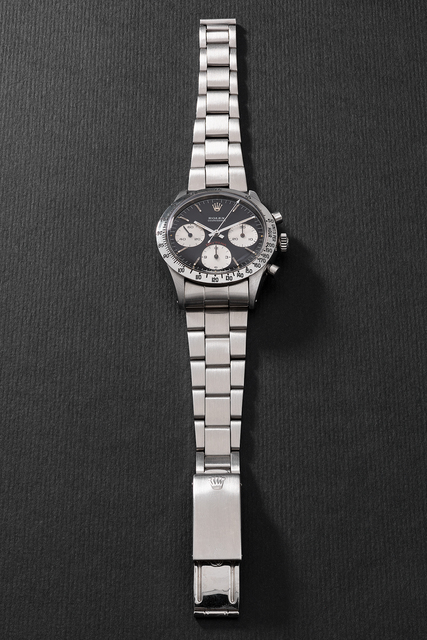 """Rolex, 'A very fine and attractive stainless steel chronograph wristwatch with black """"cherry"""" dial and bracelet', Circa 1969, Phillips"""