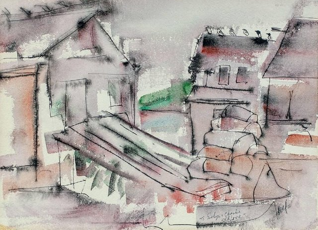 Riva Helfond, 'WPA Woman Artist Modernist Abstract Watercolor of Houses', Mid-20th Century, Lions Gallery