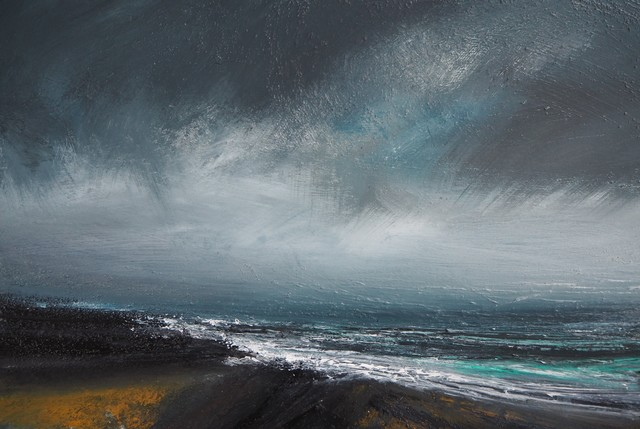 Ruth Brownlee, 'Blustery Gale, East Yell', 2019, Painting, Mixed Media on Board, Tatha Gallery