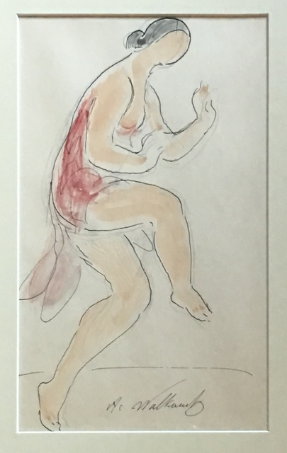 Abraham Walkowitz, 'Isadora Duncan', ca. 1910, Drawing, Collage or other Work on Paper, Watercolor and ink, Puccio Fine Art