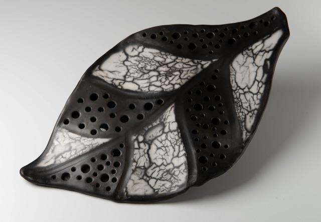 Carol Berger, 'Leaf  I- Monochrome, Black and White,Wall piece', 2019, Sculpture, Naked Raku Porcelain, Archway Gallery
