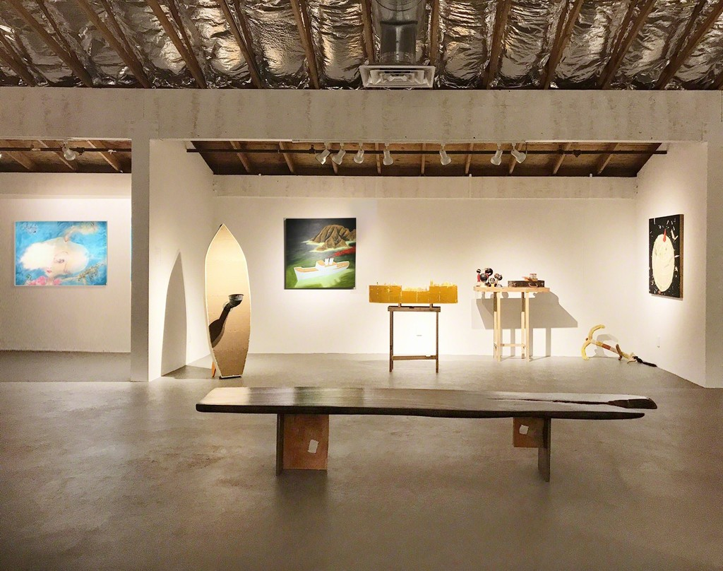 Featured exhibition room works pictured by Sally French and Doug Britt. Left to right: Sally French: Wishful Thinking. Doug Britt; Twin Fin Snorkeler, Uncharted Waters, Spirit Ship, globes, Ukulele, Floating Anchor, Earth Shattering News.