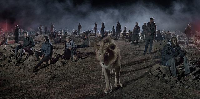 , 'Savannah with Lion & Humans ,' 2018, Atlas Gallery