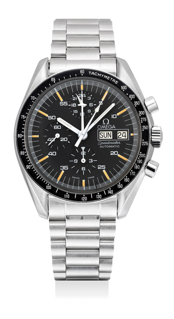 OMEGA, 'A fine and very rare stainless steel chronograph wristwatch with day, date, bracelet and box', 1988, Phillips