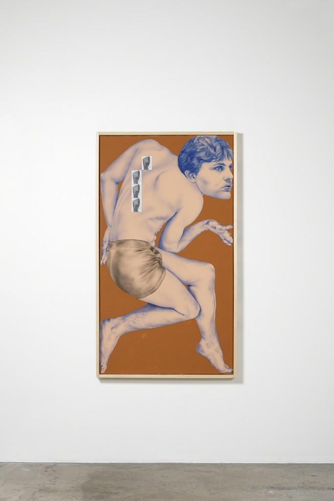 Zoe Barcza Self-Portrait as Michael Pitt (Striking Surface), 2018 Acrylic, vinyl paint and collage on canvas, artist's frame 165 x 95 cm