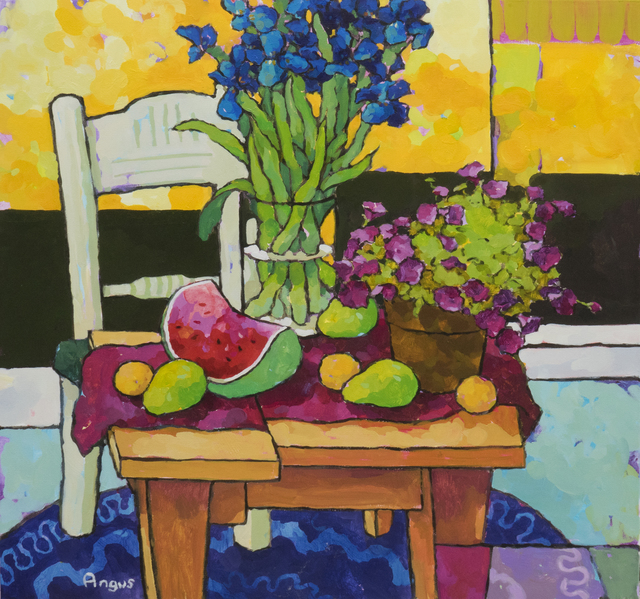 , 'Apricot and Iris Framed in Yellow,' 2018, Ventana Fine Art