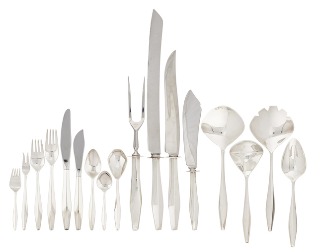 Gio Ponti, '56-piece sterling silver four-piece flatware set for nine in the Diamond pattern', des. 1958, Design/Decorative Art, Rago/Wright
